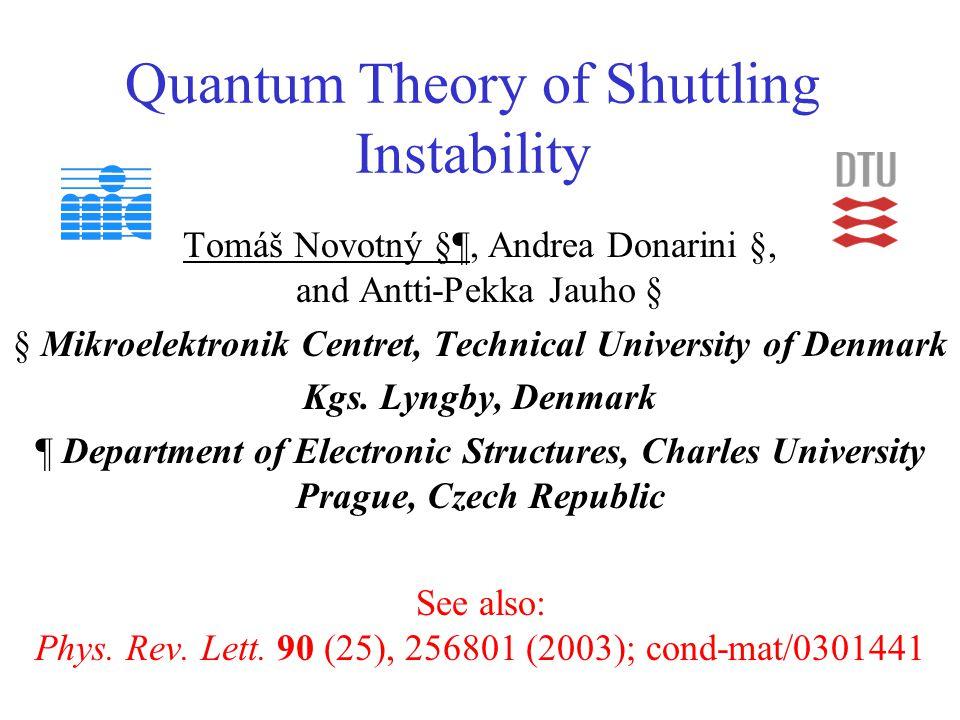 Quantum Theory of Shuttling Instability Tomáš Novotný §¶, Andrea Donarini §, and Antti-Pekka Jauho § § Mikroelektronik Centret, Technical University of Denmark Kgs.