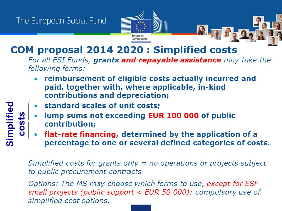 For all ESI Funds, grants and repayable assistance may take the following forms: reimbursement of eligible costs actually incurred and paid, together with, where applicable, in-kind contributions and depreciation; standard scales of unit costs; lump sums not exceeding EUR 100 000 of public contribution; flat-rate financing, determined by the application of a percentage to one or several defined categories of costs.