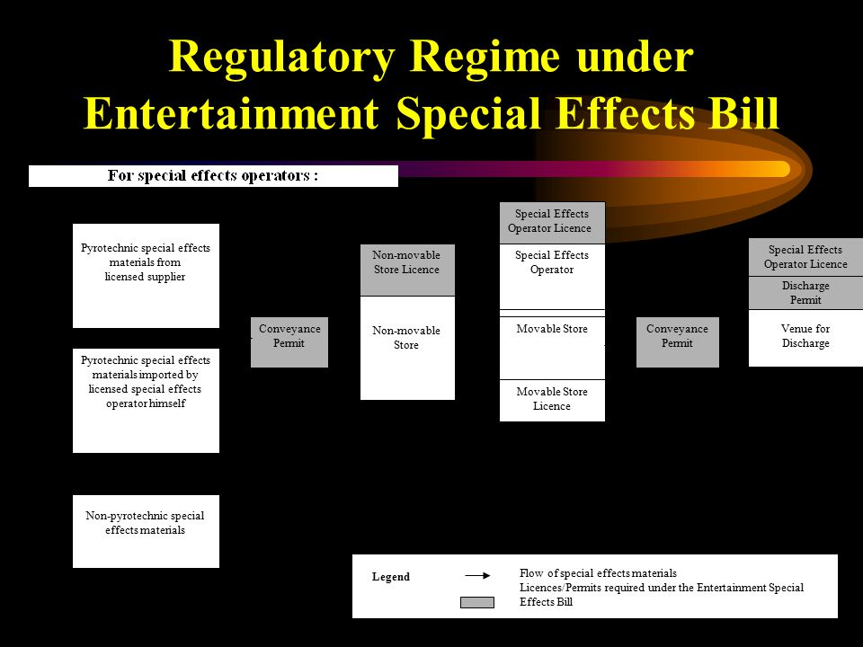 9 Regulatory Regime under Entertainment Special Effects Bill Pyrotechnic special effects materials imported by licensed special effects operator himself Pyrotechnic special effects materials from licensed supplier Special Effects Operator Non-pyrotechnic special effects materials Non-movable Store Conveyance Permit Non-movable Store Licence Movable Store Movable Store Licence Special Effects Operator Licence Discharge Permit Conveyance Permit Legend Flow of special effects materials Licences/Permits required under the Entertainment Special Effects Bill Special Effects Operator Licence Venue for Discharge