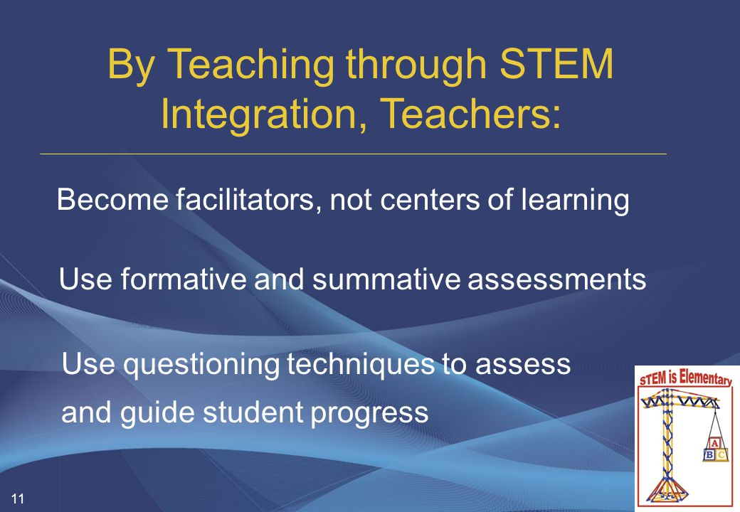 11 By Teaching through STEM Integration, Teachers: Become facilitators, not centers of learning Use formative and summative assessments Use questioning techniques to assess and guide student progress