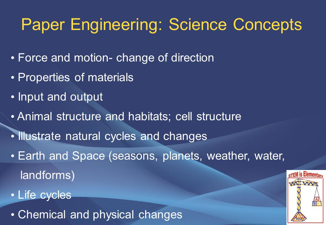 Paper Engineering: Science Concepts Force and motion- change of direction Properties of materials Input and output Animal structure and habitats; cell structure Illustrate natural cycles and changes Earth and Space (seasons, planets, weather, water, landforms) Life cycles Chemical and physical changes