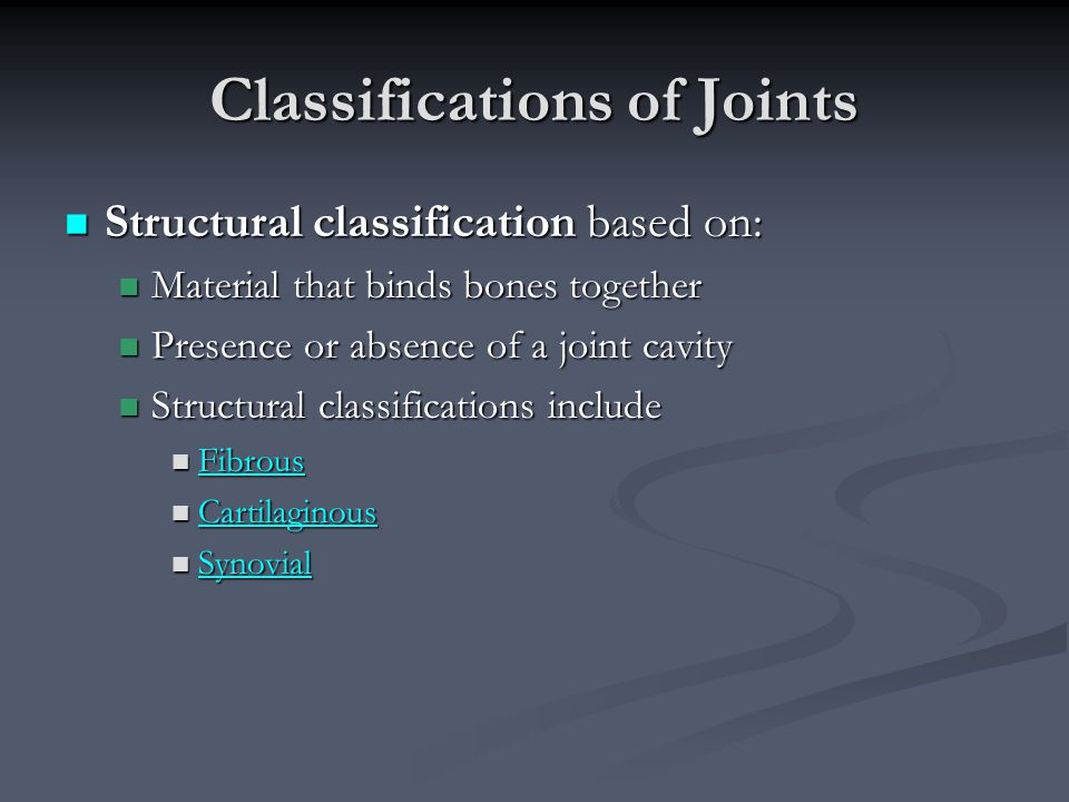 Classifications of Joints Structural classification based on: Structural classification based on: Material that binds bones together Material that bin