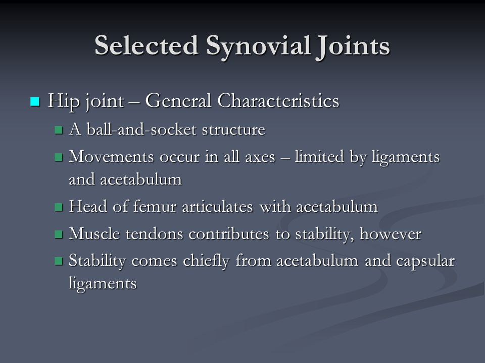 Selected Synovial Joints Hip joint – General Characteristics Hip joint – General Characteristics A ball-and-socket structure A ball-and-socket structu