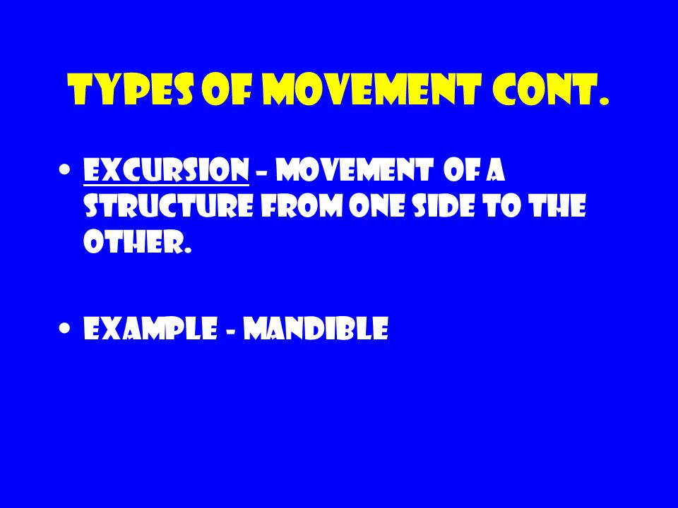 Types of movement cont. Excursion – movement of a structure from one side to the other. Example - mandible
