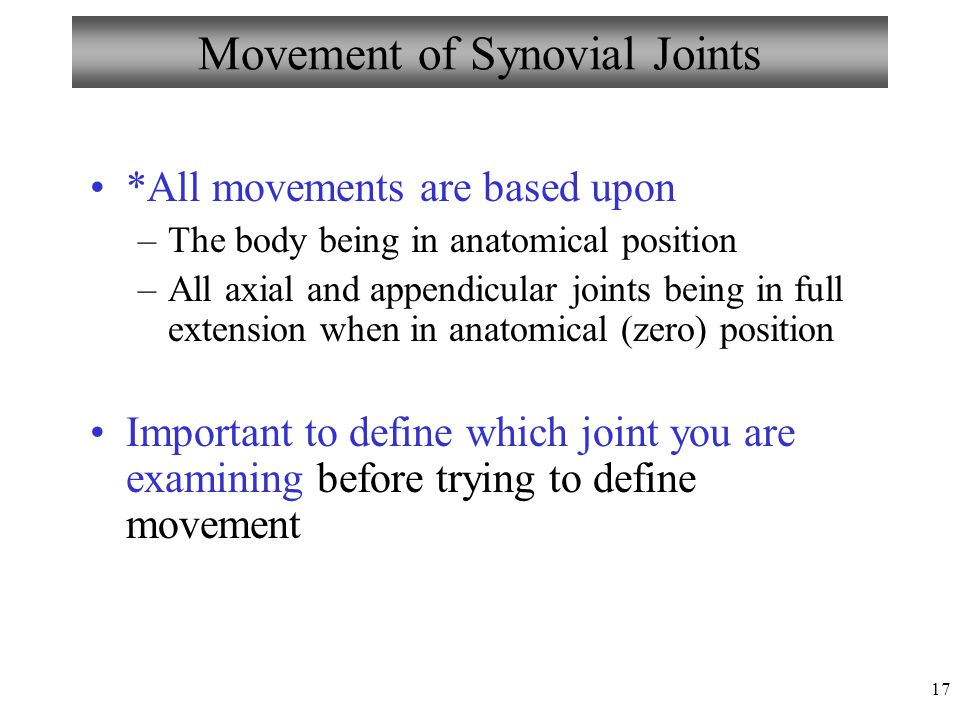 17 Movement of Synovial Joints *All movements are based upon –The body being in anatomical position –All axial and appendicular joints being in full e