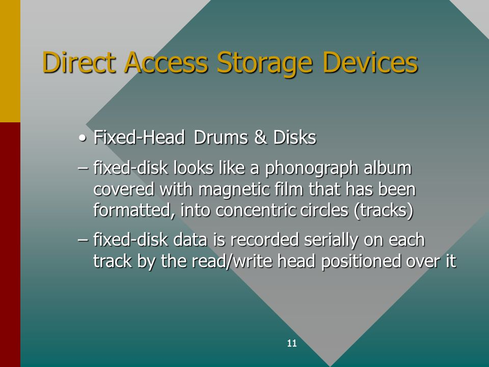 11 Direct Access Storage Devices Fixed-Head Drums & DisksFixed-Head Drums & Disks –fixed-disk looks like a phonograph album covered with magnetic film that has been formatted, into concentric circles (tracks) –fixed-disk data is recorded serially on each track by the read/write head positioned over it