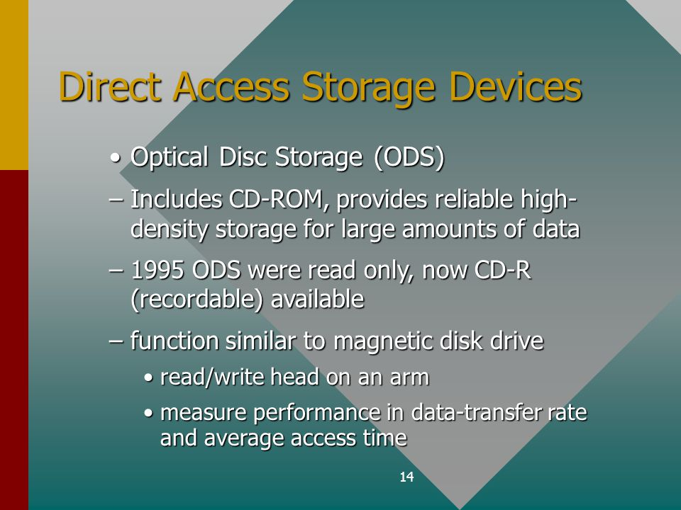 14 Direct Access Storage Devices Optical Disc Storage (ODS)Optical Disc Storage (ODS) –Includes CD-ROM, provides reliable high- density storage for large amounts of data –1995 ODS were read only, now CD-R (recordable) available –function similar to magnetic disk drive read/write head on an armread/write head on an arm measure performance in data-transfer rate and average access timemeasure performance in data-transfer rate and average access time