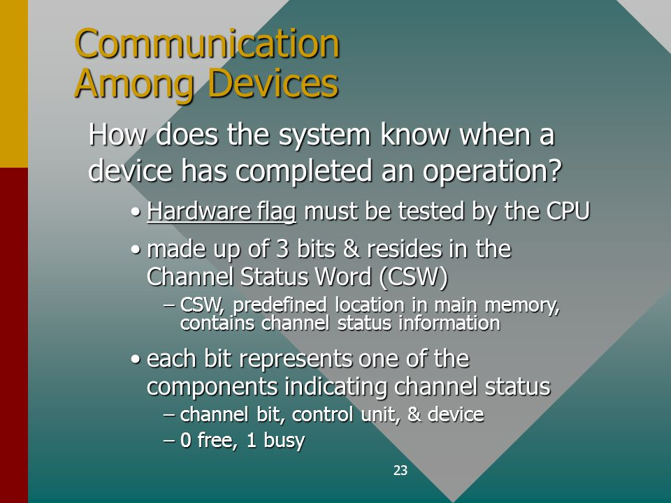 23 Communication Among Devices How does the system know when a device has completed an operation.