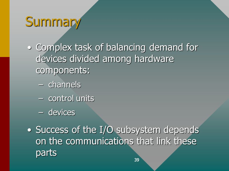 39 Summary Complex task of balancing demand for devices divided among hardware components:Complex task of balancing demand for devices divided among hardware components: – channels – control units – devices Success of the I/O subsystem depends on the communications that link these partsSuccess of the I/O subsystem depends on the communications that link these parts