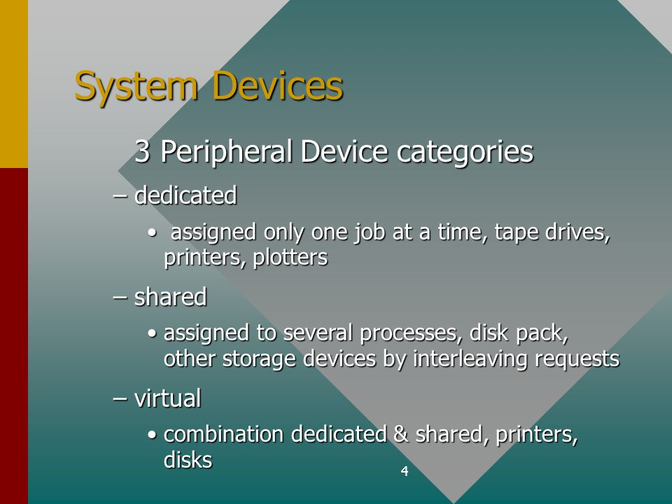 4 System Devices 3 Peripheral Device categories 3 Peripheral Device categories –dedicated assigned only one job at a time, tape drives, printers, plotters assigned only one job at a time, tape drives, printers, plotters –shared assigned to several processes, disk pack, other storage devices by interleaving requestsassigned to several processes, disk pack, other storage devices by interleaving requests –virtual combination dedicated & shared, printers, diskscombination dedicated & shared, printers, disks
