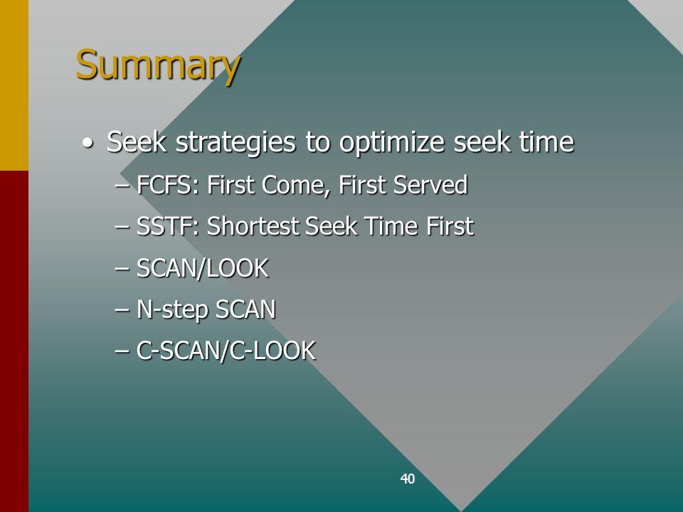 40 Summary Seek strategies to optimize seek timeSeek strategies to optimize seek time –FCFS: First Come, First Served –SSTF: Shortest Seek Time First –SCAN/LOOK –N-step SCAN –C-SCAN/C-LOOK