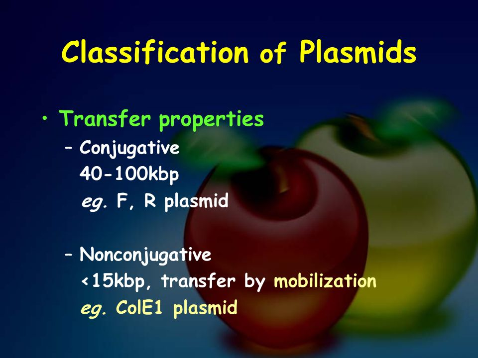 Classification of Plasmids Transfer properties –Conjugative 40-100kbp eg. F, R plasmid –Nonconjugative <15kbp, transfer by mobilization eg. ColE1 plas