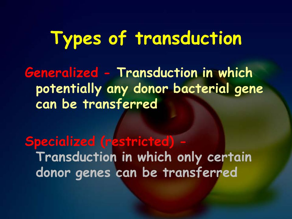 Types of transduction Generalized - Transduction in which potentially any donor bacterial gene can be transferred Specialized (restricted) - Transduct