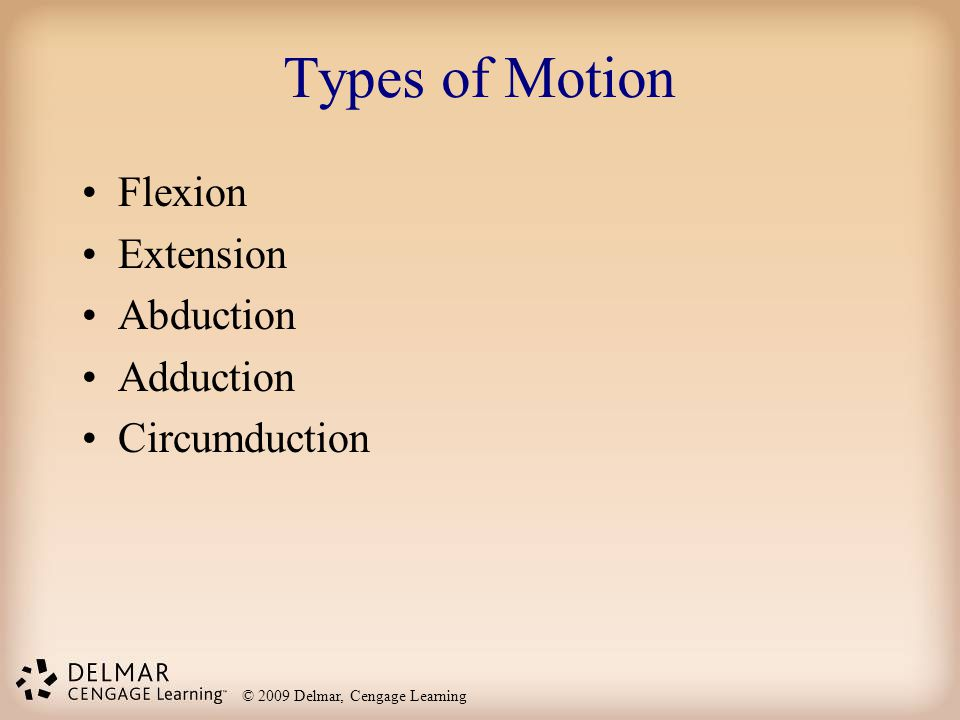© 2009 Delmar, Cengage Learning Types of Motion Flexion Extension Abduction Adduction Circumduction