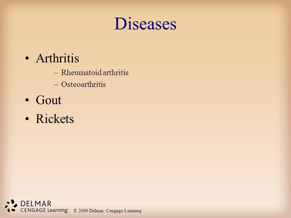 © 2009 Delmar, Cengage Learning Diseases Arthritis –Rheumatoid arthritis –Osteoarthritis Gout Rickets