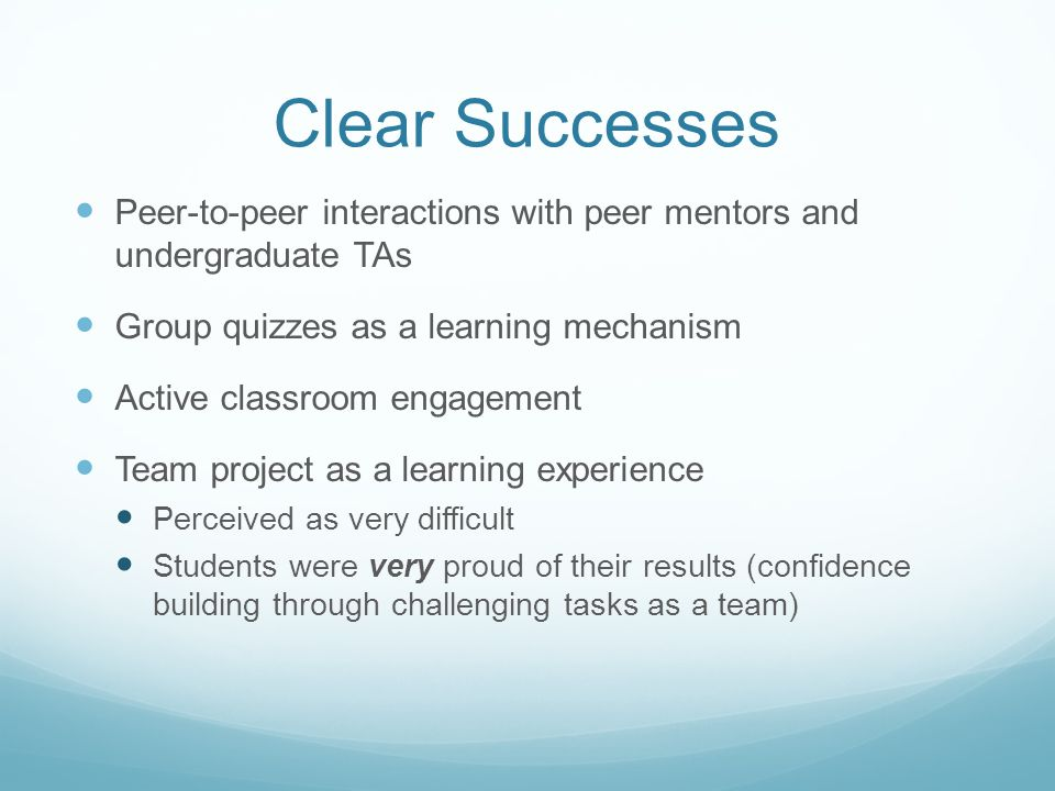 Clear Successes Peer-to-peer interactions with peer mentors and undergraduate TAs Group quizzes as a learning mechanism Active classroom engagement Team project as a learning experience Perceived as very difficult Students were very proud of their results (confidence building through challenging tasks as a team)