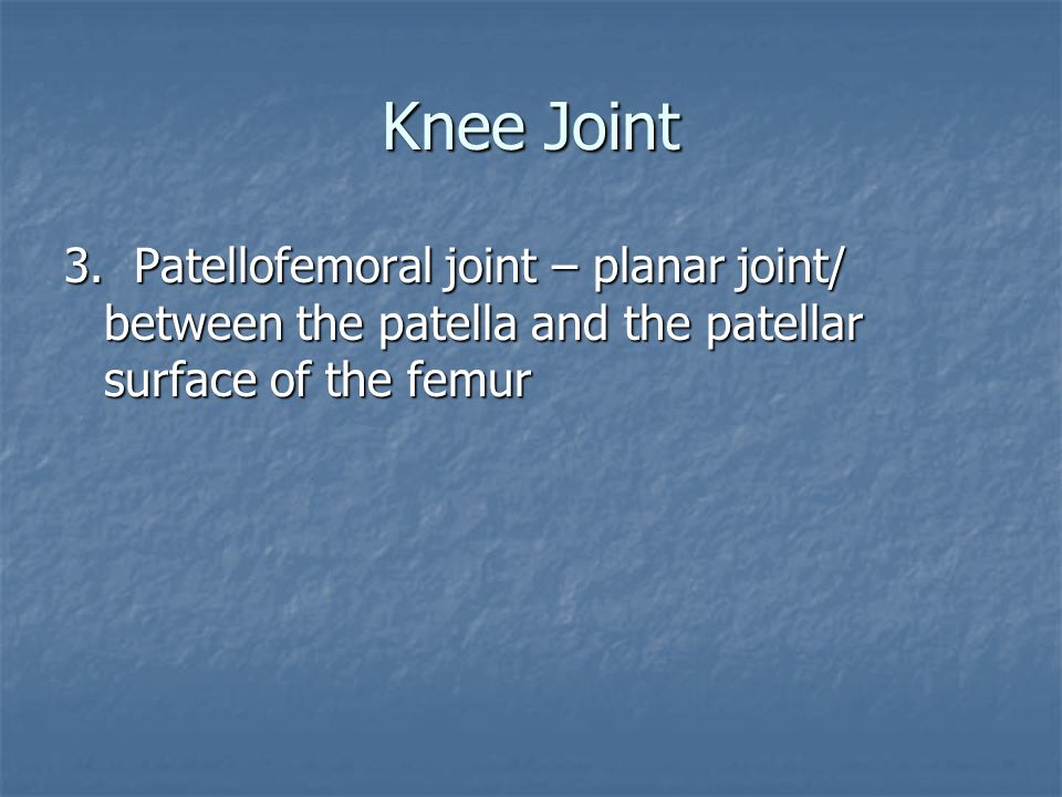 Knee Joint 3. Patellofemoral joint – planar joint/ between the patella and the patellar surface of the femur