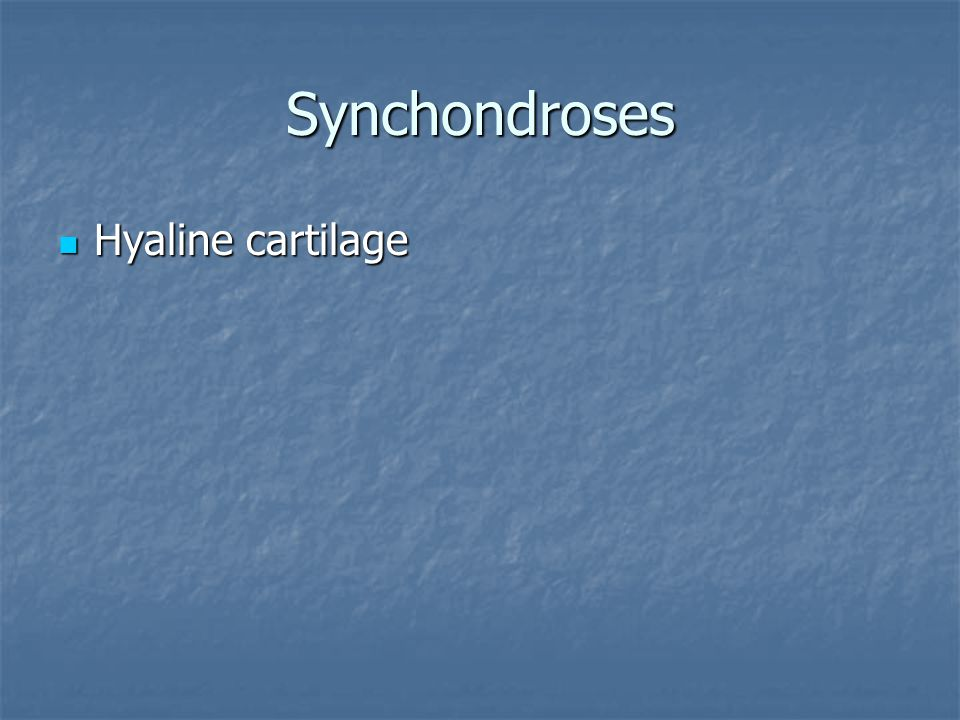 Synchondroses Hyaline cartilage Hyaline cartilage