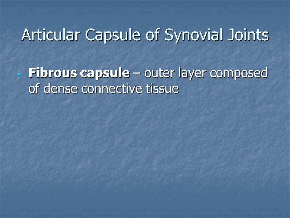 Articular Capsule of Synovial Joints Fibrous capsule – outer layer composed of dense connective tissue Fibrous capsule – outer layer composed of dense