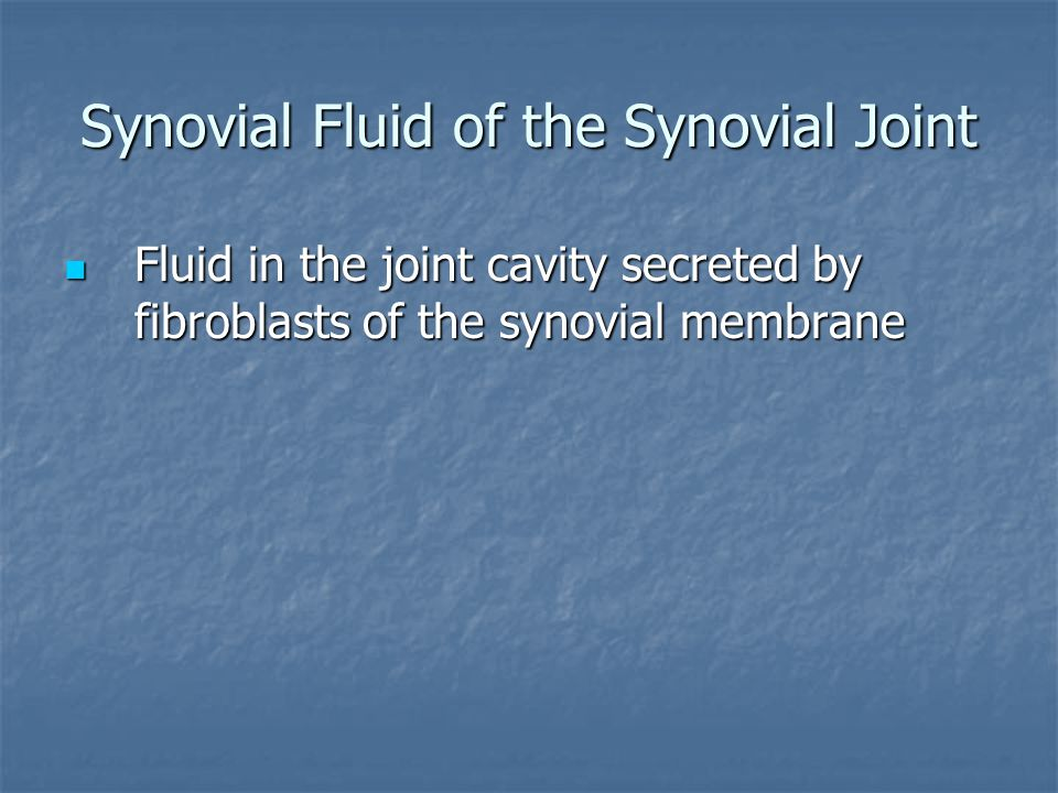 Synovial Fluid of the Synovial Joint Fluid in the joint cavity secreted by fibroblasts of the synovial membrane Fluid in the joint cavity secreted by