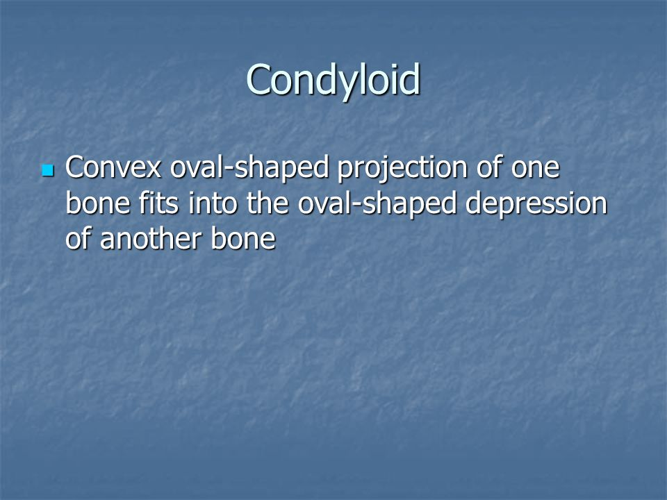 Condyloid Convex oval-shaped projection of one bone fits into the oval-shaped depression of another bone Convex oval-shaped projection of one bone fit