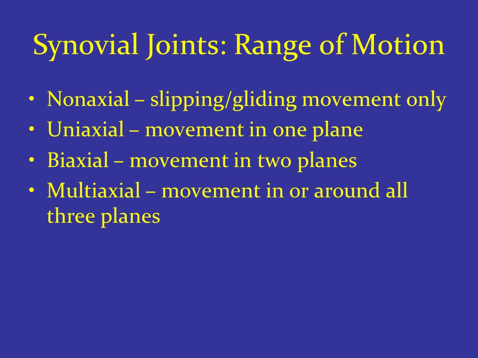 Synovial Joints: Range of Motion Nonaxial – slipping/gliding movement only Uniaxial – movement in one plane Biaxial – movement in two planes Multiaxial – movement in or around all three planes