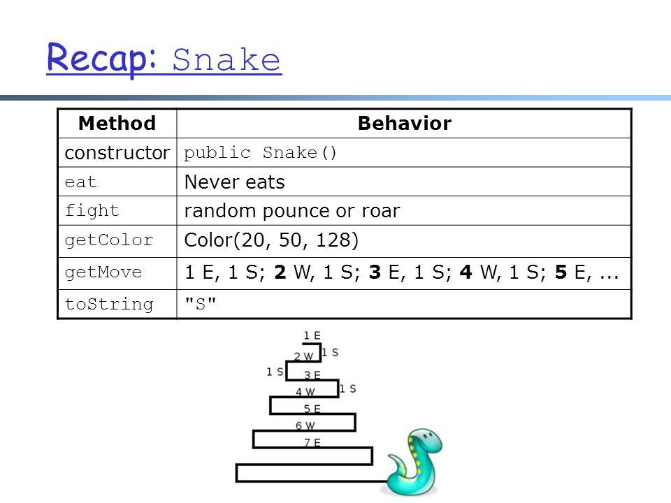 Recap: Snake MethodBehavior constructor public Snake() eat Never eats fight random pounce or roar getColor Color(20, 50, 128) getMove 1 E, 1 S; 2 W, 1 S; 3 E, 1 S; 4 W, 1 S; 5 E,...