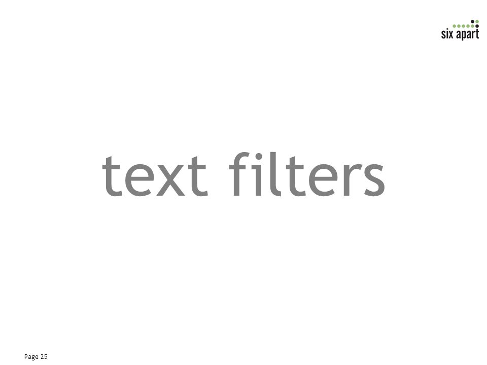 Page 25 text filters