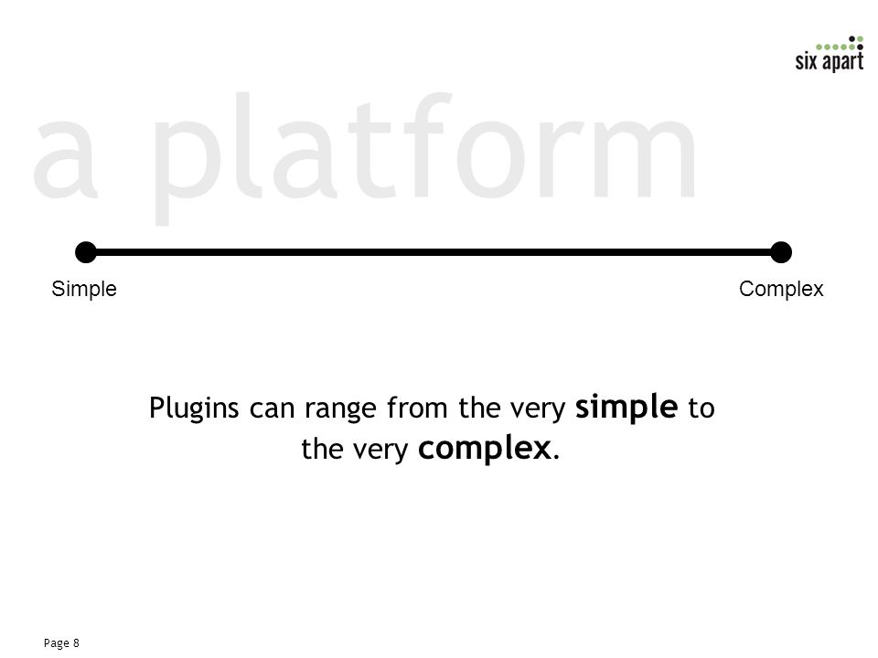 Page 8 a platform Plugins can range from the very simple to the very complex. SimpleComplex