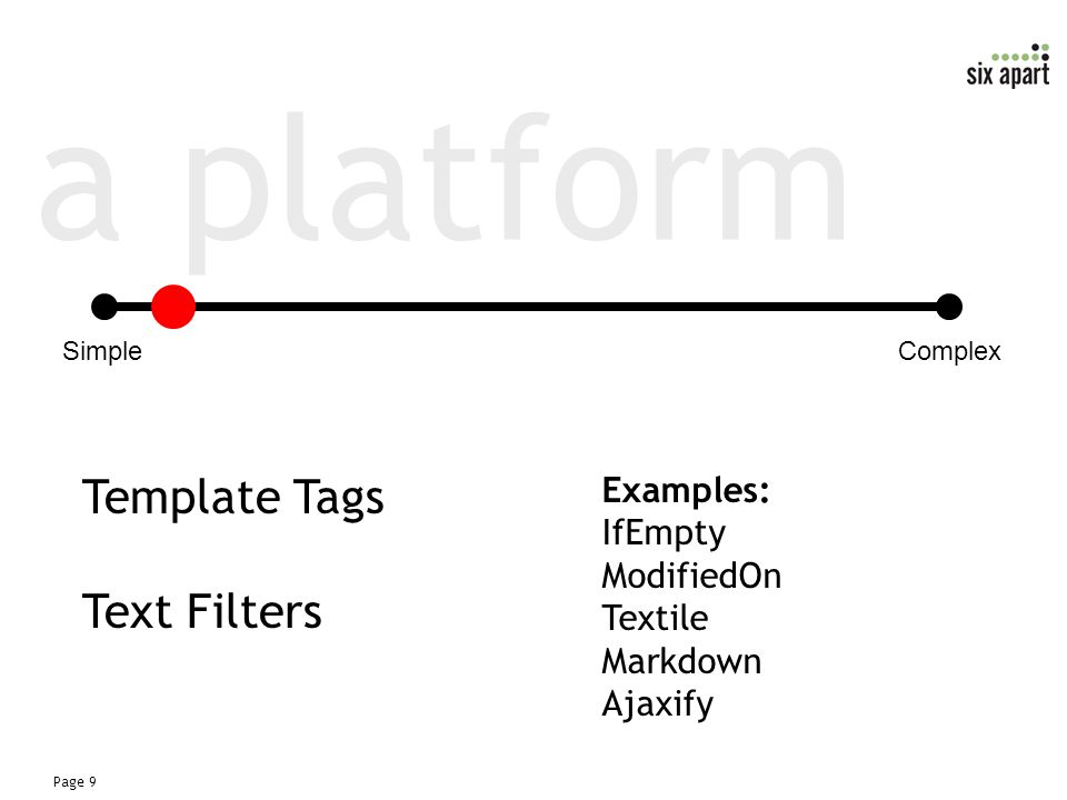 Page 9 a platform Template Tags Text Filters SimpleComplex Examples: IfEmpty ModifiedOn Textile Markdown Ajaxify