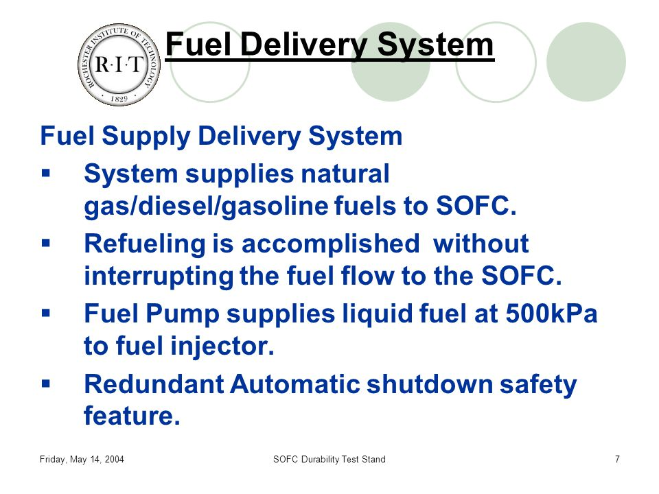 Friday, May 14, 2004SOFC Durability Test Stand7 Fuel Delivery System Fuel Supply Delivery System  System supplies natural gas/diesel/gasoline fuels to SOFC.