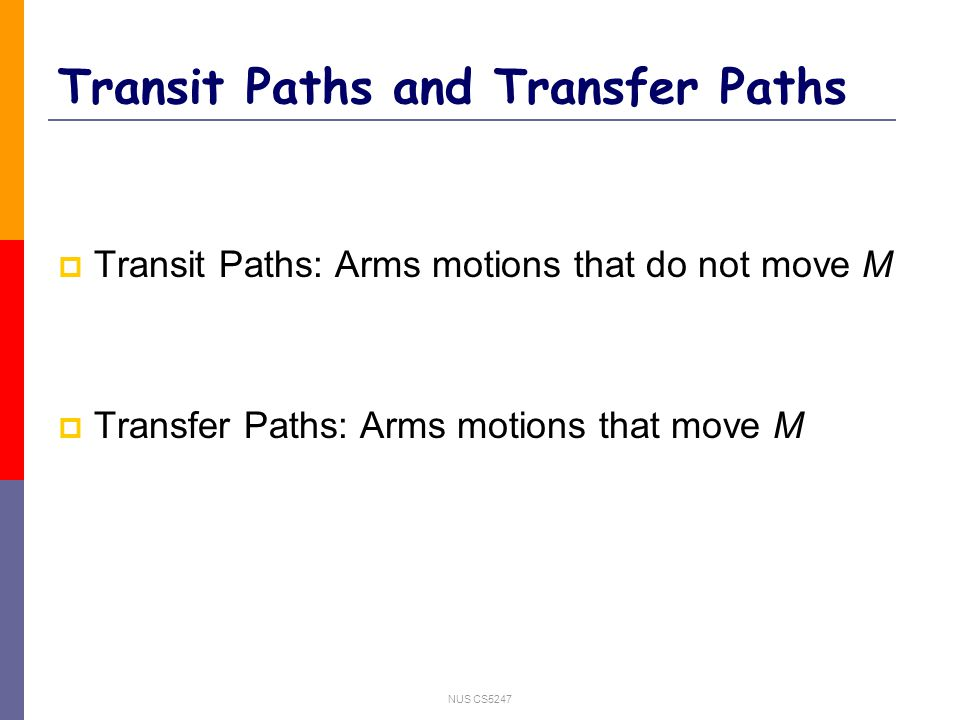 NUS CS5247 Transit Paths and Transfer Paths  Transit Paths: Arms motions that do not move M  Transfer Paths: Arms motions that move M