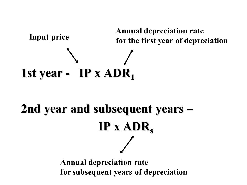 1st year - IP x ADR 1 2nd year and subsequent years – IP x ADR s IP x ADR s Annual depreciation rate for subsequent years of depreciation Annual depreciation rate for the first year of depreciation Input price
