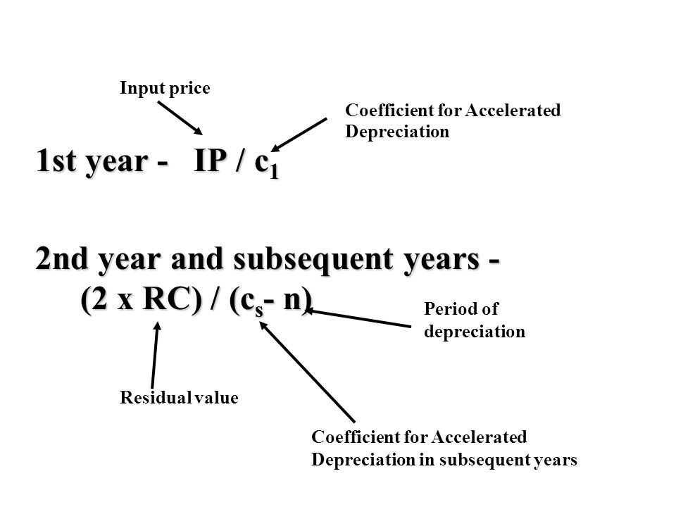 1st year - IP / c 1 2nd year and subsequent years - (2 x RC) / (c s - n) Coefficient for Accelerated Depreciation Coefficient for Accelerated Depreciation in subsequent years Input price Residual value Period of depreciation