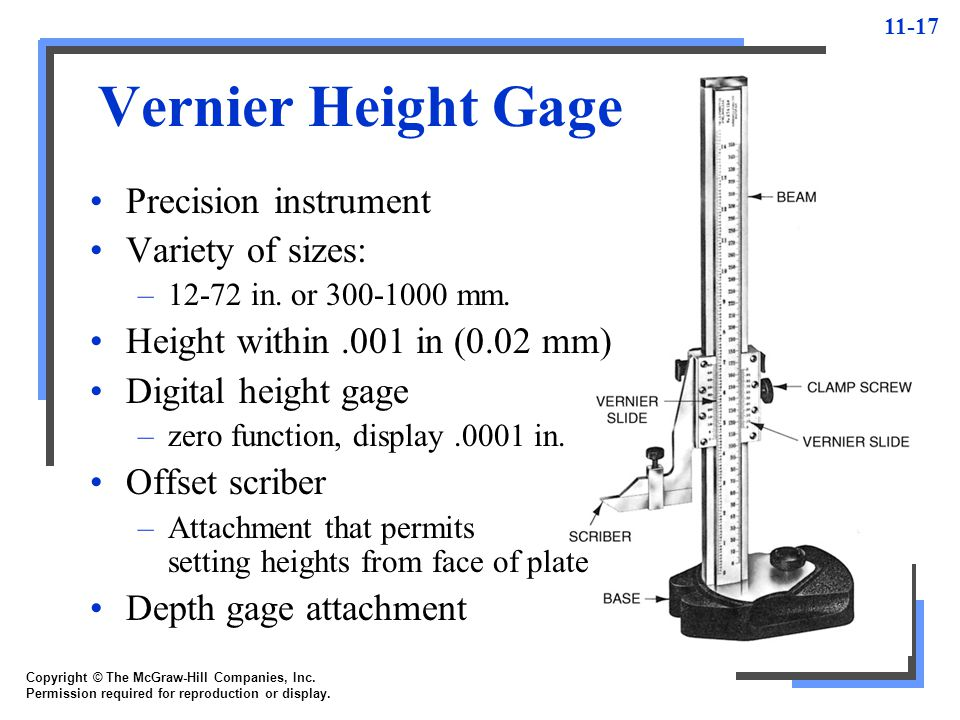 11-17 Copyright © The McGraw-Hill Companies, Inc. Permission required for reproduction or display. Vernier Height Gage Precision instrument Variety of