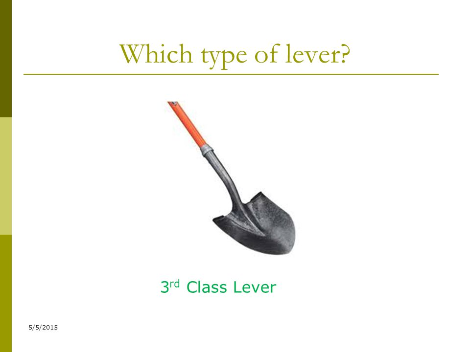 Which type of lever? 5/5/2015 3 rd Class Lever