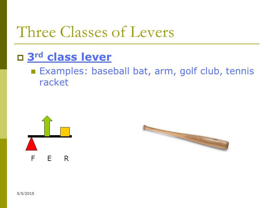 5/5/2015 Three Classes of Levers  3 rd class lever Examples: baseball bat, arm, golf club, tennis racket F E R