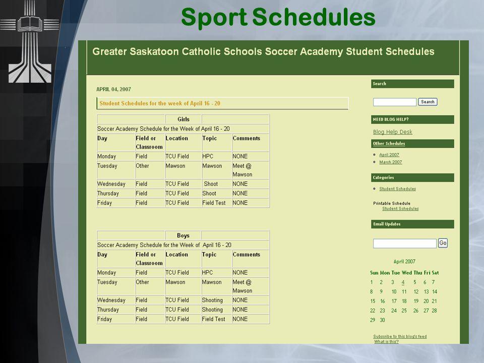 Sport Schedules