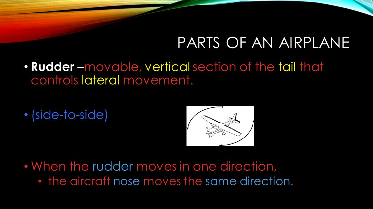 PARTS OF AN AIRPLANE Rudder –movable, vertical section of the tail that controls lateral movement. (side-to-side) When the rudder moves in one directi