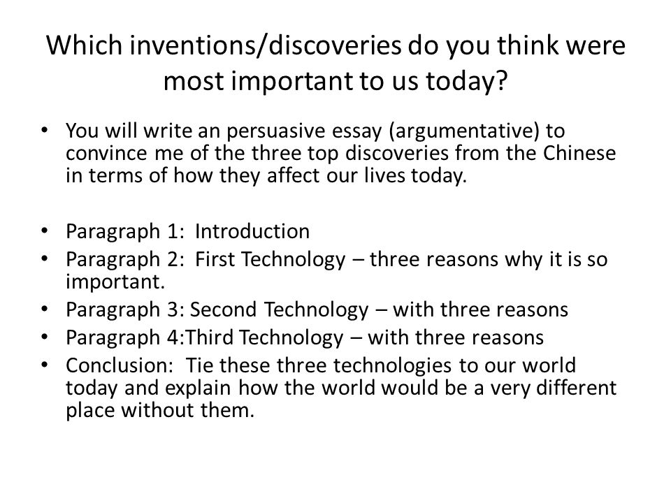 Which inventions/discoveries do you think were most important to us today.
