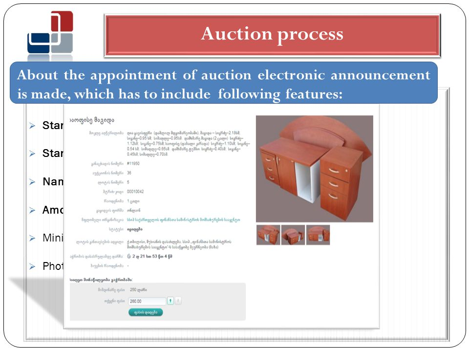 Auction process  Starting and the ending time of the auction.