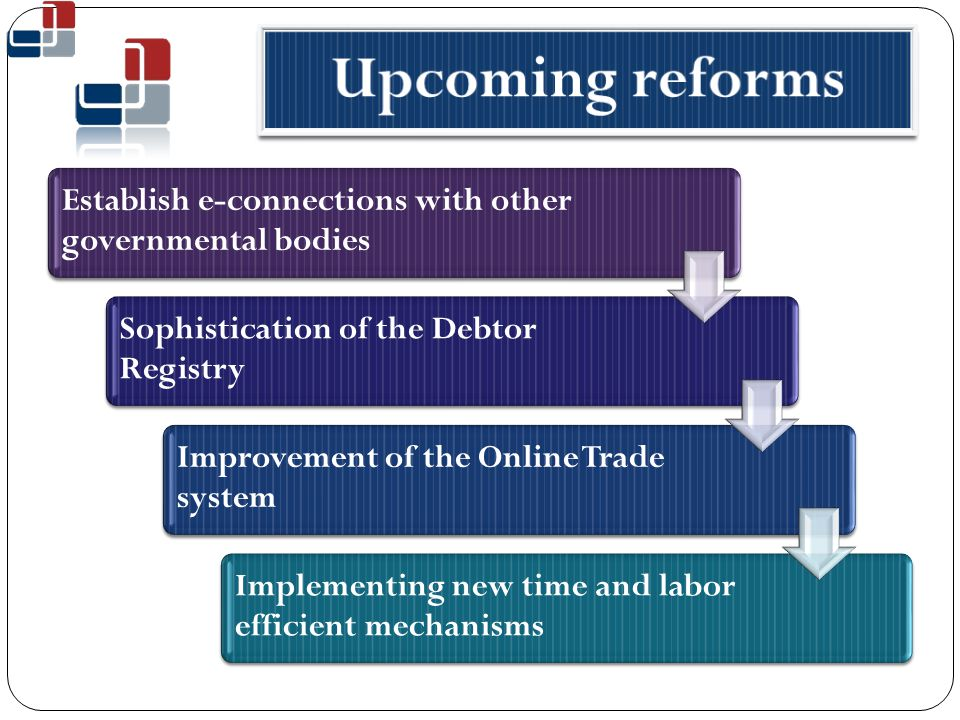 Establish e-connections with other governmental bodies Sophistication of the Debtor Registry Improvement of the Online Trade system Implementing new time and labor efficient mechanisms
