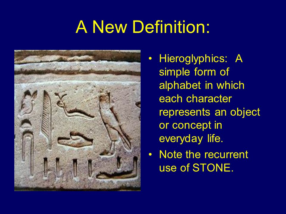A New Definition: Hieroglyphics: A simple form of alphabet in which each character represents an object or concept in everyday life.