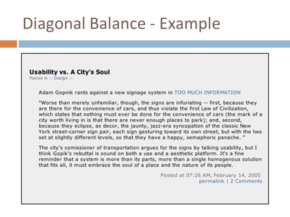 Diagonal Balance - Example