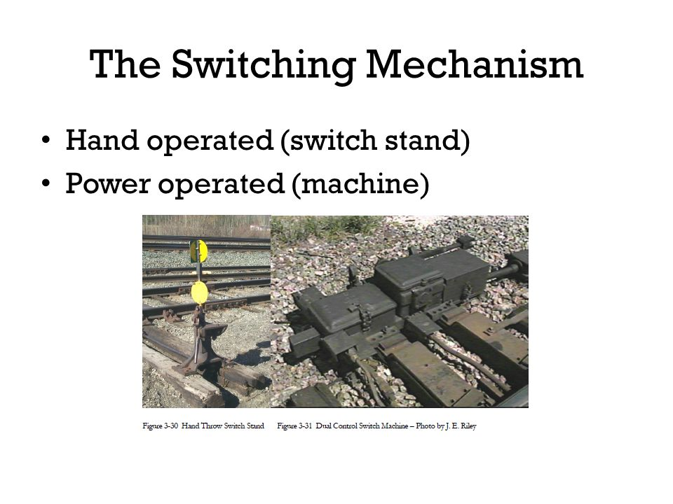 The Switching Mechanism Hand operated (switch stand) Power operated (machine)
