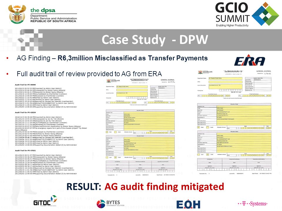 AG Finding – R6,3million Misclassified as Transfer Payments Full audit trail of review provided to AG from ERA RESULT: AG audit finding mitigated Case Study - DPW