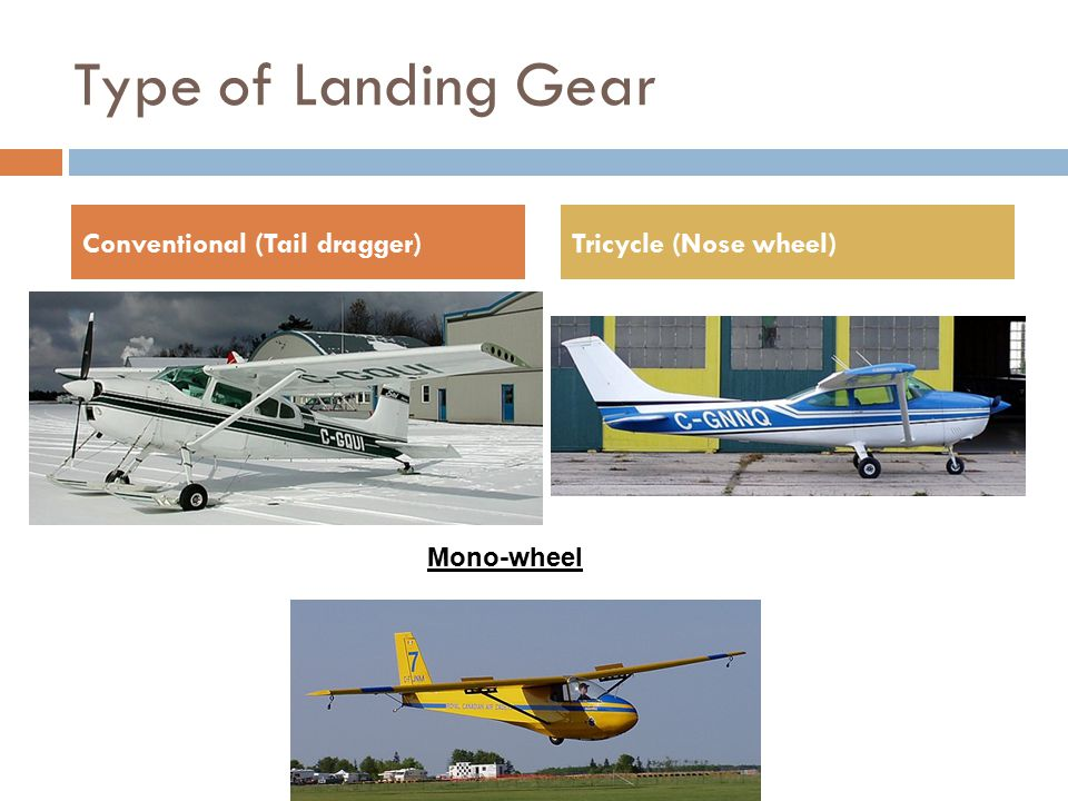 Landing Gear  Absorbs shock of landing  Allows the movement of the aircraft on the ground  Can be either fixed or retractable