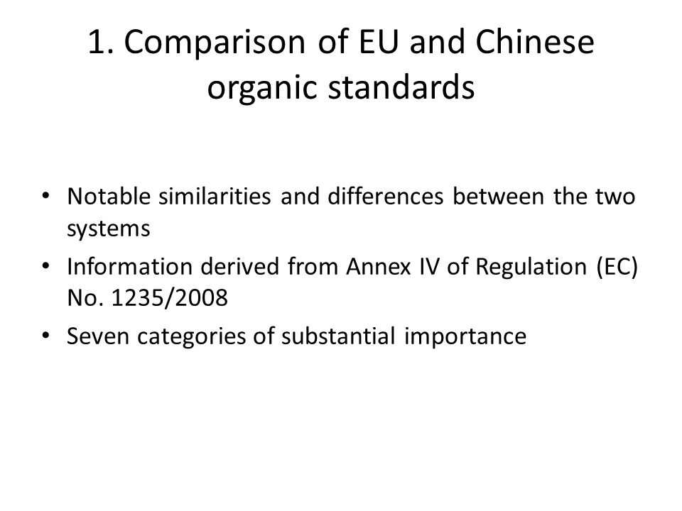 Similarities: Regulations relating to vitamins added to feed as nutritional additives Differences: Few Chinese regulations control the use of processed agricultural products for use as feed No Chinese regulations relating to use of antioxidants in feed for animal nutrition Emulsifying and stabilizing agents, thickeners and gelling agents (Lecithin) only derive from organic raw materials in EU No Chinese regulation governing flavoring compounds and where they can be derived from Chinese regulations state what additives can be used, unlike EU