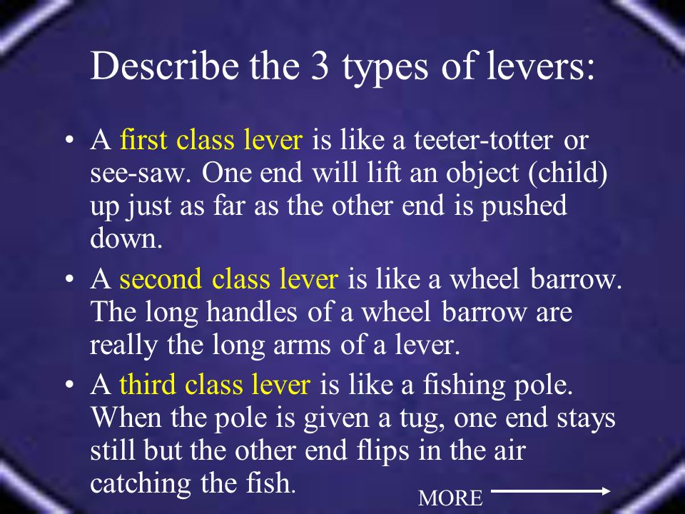 A first class lever is like a teeter-totter or see-saw.