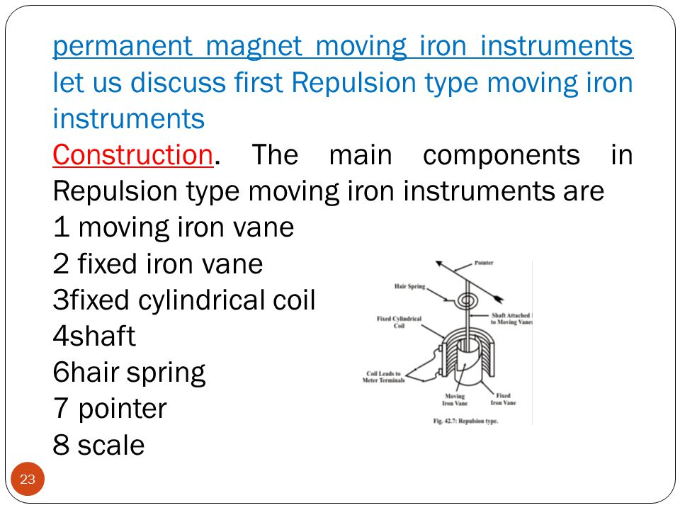 permanent magnet moving iron instruments let us discuss first Repulsion type moving iron instruments Construction. The main components in Repulsion ty